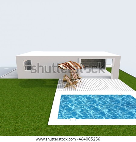 3d exterior rendering perspective view of holiday home apartment with green garden and pool