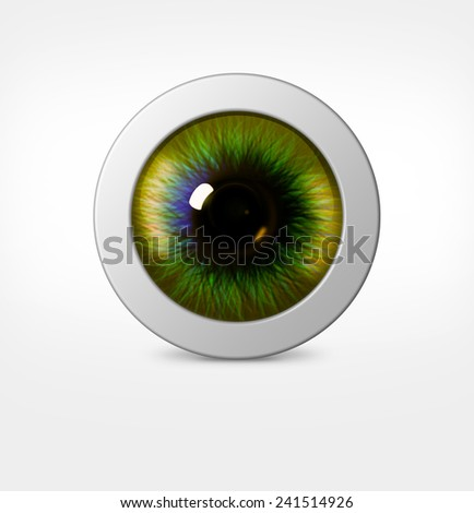 3d eye of man on white background. eyeball with pupil green hue - stock photo