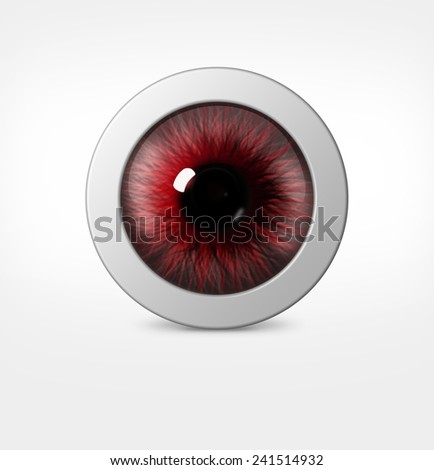 3d eye of man on white background. eyeball with pupil red hue - stock photo