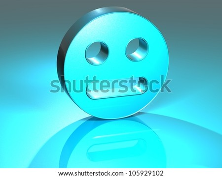 3D Face Blue Sign over blue background - stock photo