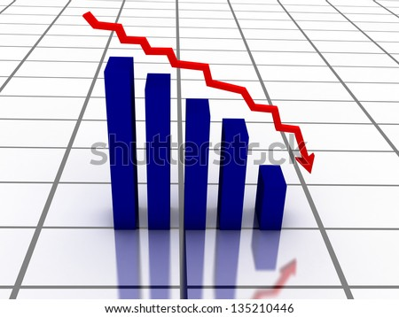 3D falling graph with red arrow - stock photo