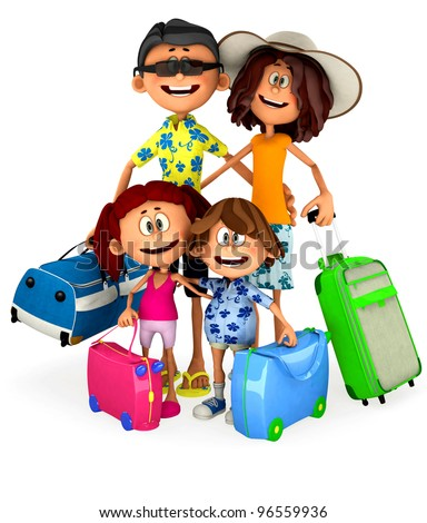 3D Family going on holidays - isolated over a white background - stock photo