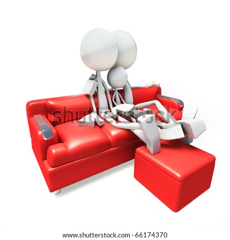 3D family sitting in sofa and watching television - stock photo