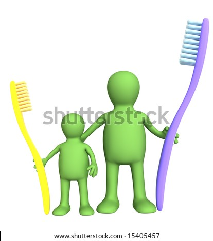 3d family with an tooth-brushs. Object over white - stock photo