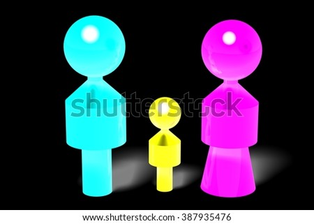 3D family with one child concept. - stock photo