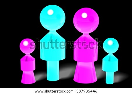 3D family with two children. - stock photo