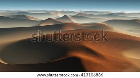 3D Fantasy desert landscape with great sand dunes - stock photo