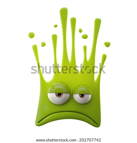 3D fantasy paint object, color splash character, funny design element, attractive emoticon, unique expression sticker , isolated on the white background  - stock photo