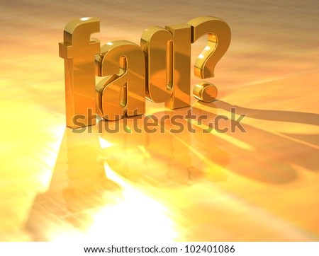 3D Faq Gold text over yellow background - stock photo