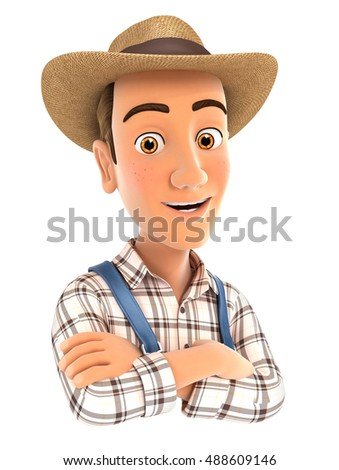 3d farmer with arms crossed, illustration with isolated white background