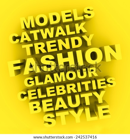 3d fashion concept with fashion words on a golden background.  - stock photo