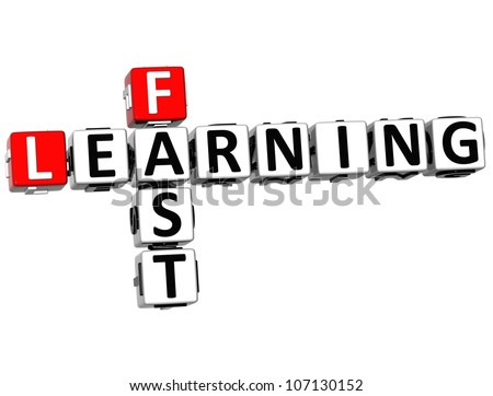3D Fast Learning Crossword on white background - stock photo