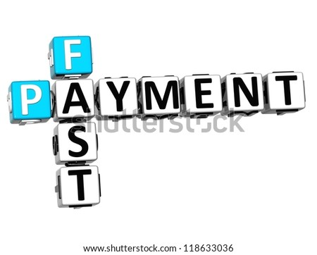 3D Fast Payment Crossword on white background