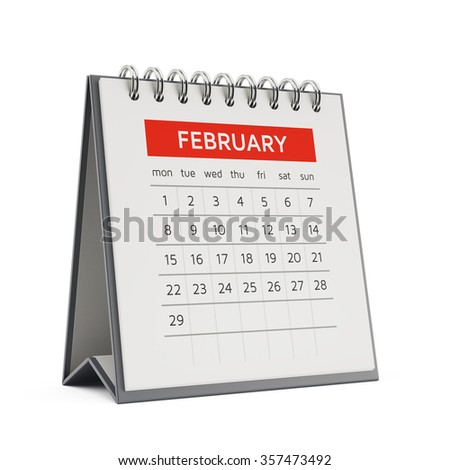 3d february desktop calendar with soft shadow isolated on white background