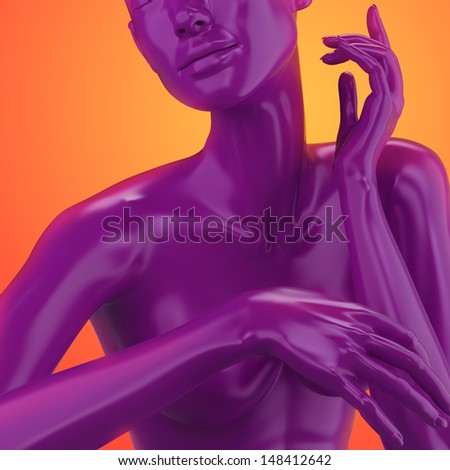 3d female mannequin, colorful model body shape, fashion illustration - stock photo