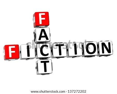 3D Fiction Fact Crossword on white background - stock photo