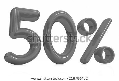 """3d """"50"""" - fifty percent on a white background - stock photo"""