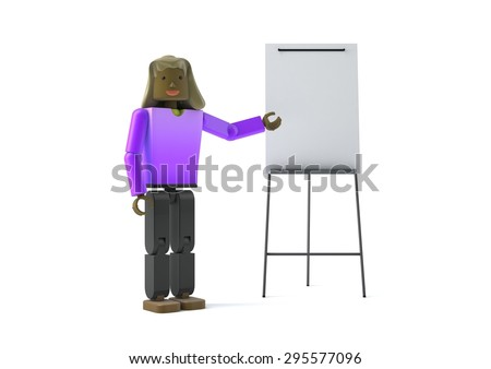 3D figure pointing at a flipchart - stock photo