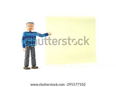 3D figure pointing at a sticky note - stock photo