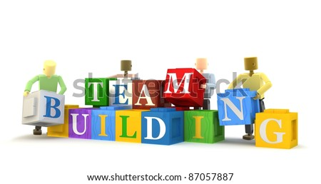 3D figures engaging in a team building exercise isolated against a white background - stock photo