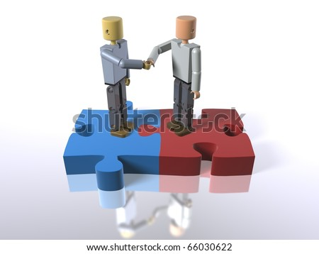 3D figures standing on jigsaw pieces shaking hands - stock photo