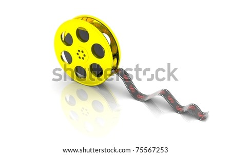 3D Film Reel on a white background - stock photo