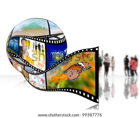 3D film strip images,Photo World - stock photo