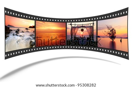3D film strip with nice pictures of andaman scene - stock photo