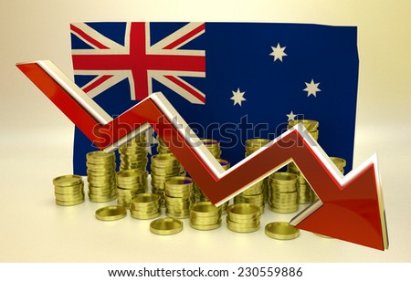 3D finance graph - currency collapse -  Australian dollar - stock photo