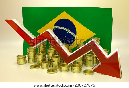 3D finance graph - currency collapse - Brazilian real - stock photo