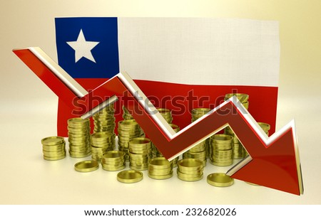 3D finance graph - currency collapse -  Chilean peso - stock photo