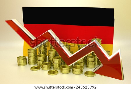 3D finance graph - currency collapse - Germany economy - stock photo