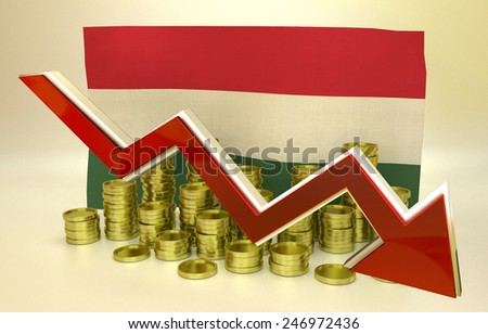 3D finance graph - currency collapse -  Hungarian economy - stock photo