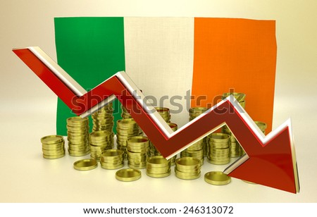 3D finance graph - currency collapse -  Irish economy - stock photo