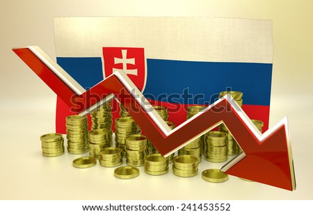 3D finance graph - currency collapse - Slovak economy - stock photo