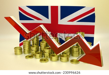 3D finance graph - currency collapse - UK pound - stock photo