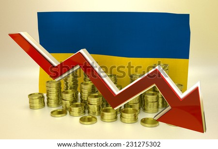 3D finance graph - currency collapse - Ukrainian hryvnia - stock photo