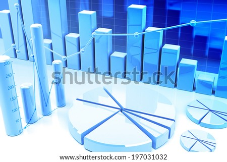 3d finance graphics - stock photo