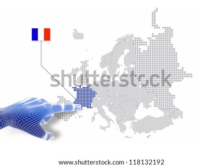 3d Finger touch on display France map and flag.