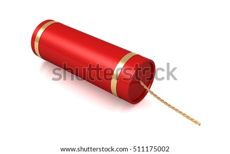 3D Fire Cracker on white background
