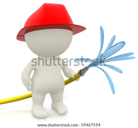 3D firefighter holding a hose - isolated over a white background - stock photo
