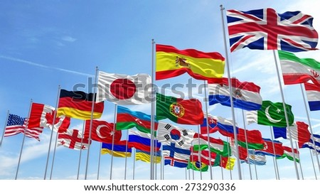 3D. Flag, Global Communications, Global Business.