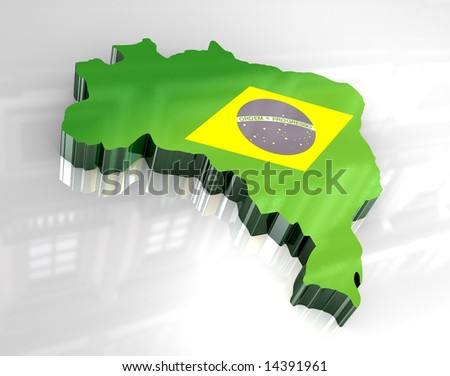 3d flag map of brazil - stock photo