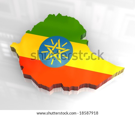 3d flag map of Ethiopia