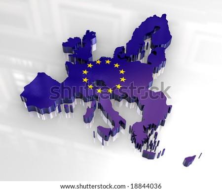 3d flag map of European union - stock photo