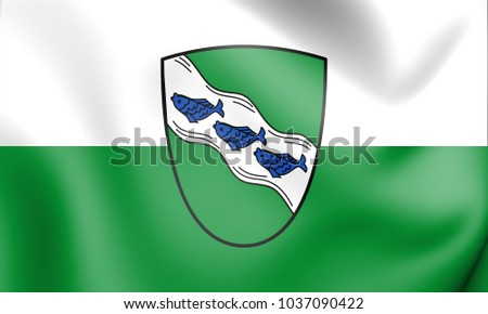3D Flag of Ansbach (Bavaria), Germany. 3D Illustration.