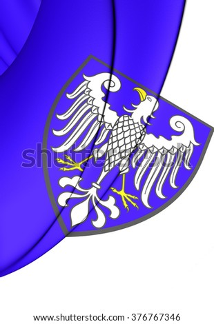 3D Flag of Arnsberg City (North Rhine-Westphalia), Germany.      - stock photo
