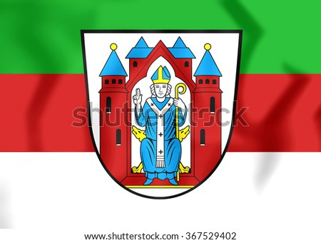 3D Flag of Aschaffenburg (Bavaria), Germany. Close Up.    - stock photo