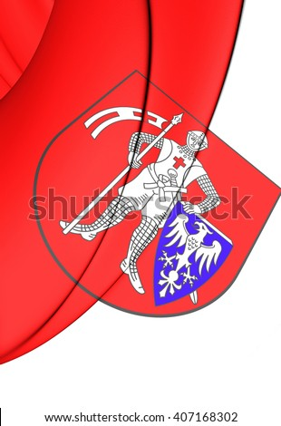 3D Flag of Bamberg (Upper Franconia), Germany.      - stock photo