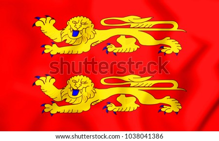 3D Flag of Basse-Normandie, France. 3D Illustration.